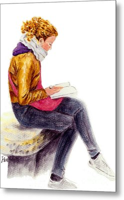 A Reading Girl In Milan Metal Print by Jingfen Hwu
