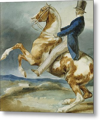 A Rider And His Rearing Horse Metal Print