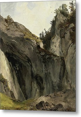 A Rocky Outcrop With Vegetation Metal Print by Friedrich Gauermann