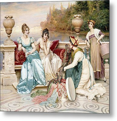 A Selection Of Silk And Satin Metal Print by Joseph Frederic Charles Soulacroix