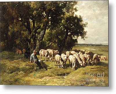 A Shepherd And His Flock Metal Print by Charles Emile Jacques
