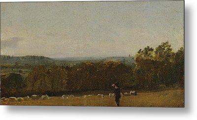 A Shepherd In A Landscape Looking Across Dedham Metal Print