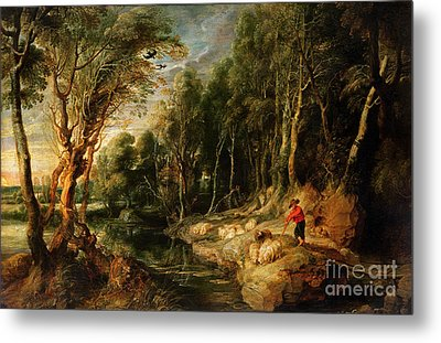 A Shepherd With His Flock In A Woody Landscape Metal Print