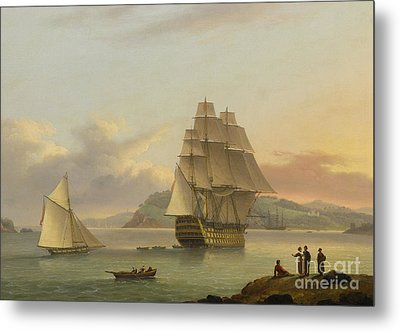 A Ship Of The Line Off Plymouth, 1817 Metal Print by Thomas Luny