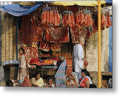 A Shop At The Ghat Metal Print