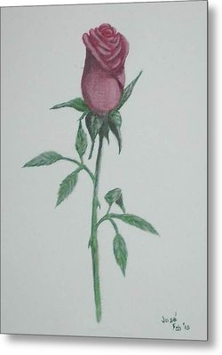 Metal Print featuring the painting A Single Red Rose by Hilda and Jose Garrancho