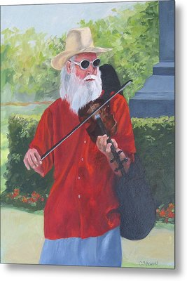 A Slim Fiddler For Peace Metal Print