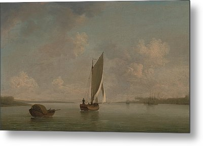 A Smack Under Sail In A Light Breeze In A River Metal Print