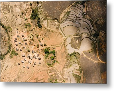 A Small Rice Village In The Central Metal Print by Michael Fay