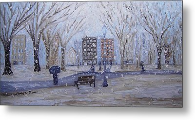 A Snowy Afternoon In The Park Metal Print by Daniel W Green