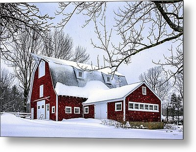 A Snowy Day At Grey Ledge Farm Metal Print by Betty Denise