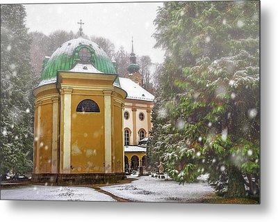 A Snowy Day In Salzburg Austria  Metal Print by Carol Japp