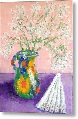 A Spanish Jar And A Fan Metal Print by Tamara Savchenko