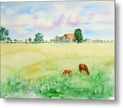 Metal Print featuring the painting A Spring Graze by Sharon Mick