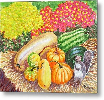 A Squirrel And Pumpkins.2007 Metal Print by Natalia Piacheva