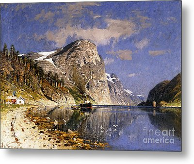 A Steamer In The Sognefjord Metal Print by Adelsteen Normann