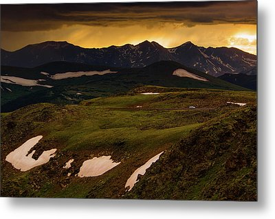 Metal Print featuring the photograph A Stormy Alpine Sunset by John De Bord
