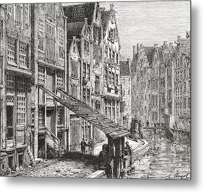 A Street In Old Amsterdam, The Metal Print by Vintage Design Pics