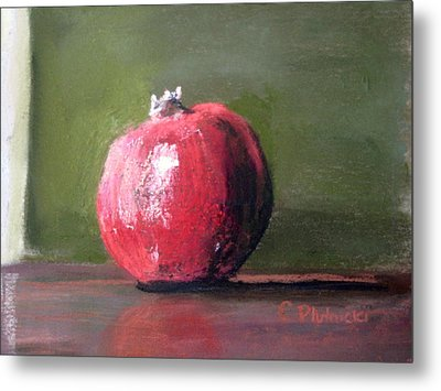 Metal Print featuring the pastel A Study Of Pomegranite by Cindy Plutnicki