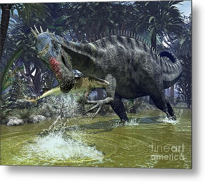 A Suchomimus Snags A Shark From A Lush Metal Print