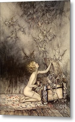 A Sudden Swarm Of Winged Creatures Brushed Past Her Metal Print by Arthur Rackham