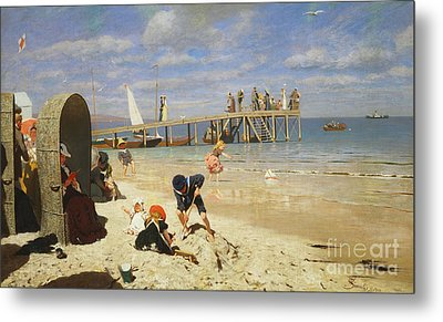 A Sunny Day At The Beach Metal Print by Wilhelm Simmler