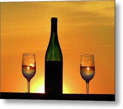 A Sunset In Each Glass Metal Print