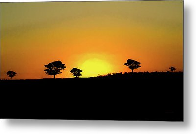 A Sunset In Namibia Metal Print by Ernie Echols