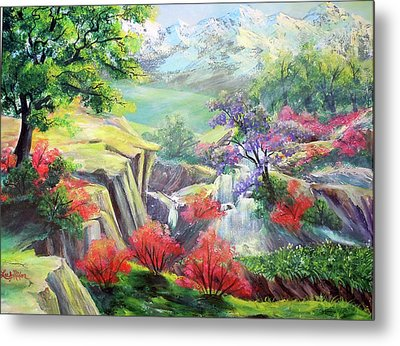 Metal Print featuring the painting A Taste Of Lavender In The Spring by Lee Nixon