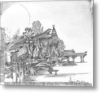 A Temple A Building And Some Trees Metal Print by Padamvir Singh