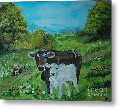Metal Print featuring the painting A Tender Love by Leslie Allen