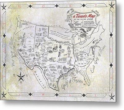 A Texan's Map Metal Print by Jon Neidert
