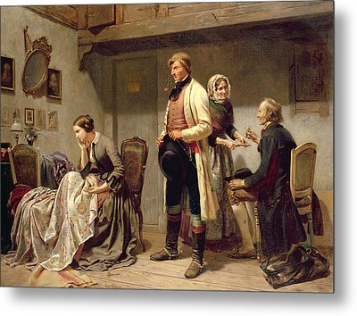 A Toast To The Engaged Couple Metal Print by Carl Wilhelm Huebner