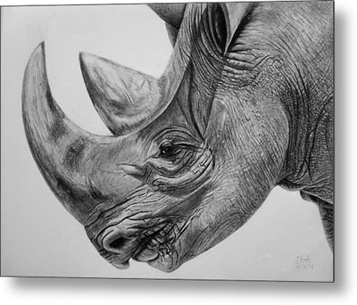 Rhinoceros - A Peaceful Giant Metal Print by Vishvesh Tadsare