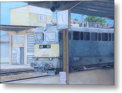 A Train In Budapest Metal Print by Wilfrid Barbier