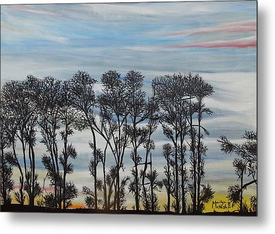 Metal Print featuring the painting A Treeline Silhouette by Marilyn  McNish