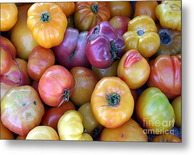 A Trip Through The Farmers Market Featuring Heirloom Tomatoes. Metal Print by Michael Ledray