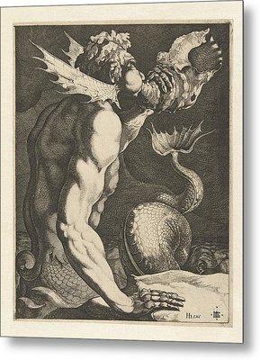 A Triton Blowing A Conch Metal Print