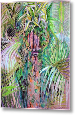 A Tropical Basket On A Post Metal Print by Mindy Newman