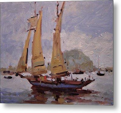 A Two Master Sails Into Morro Bay Metal Print