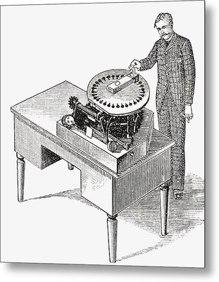 A Typewriter Of 1836. From The Strand Metal Print
