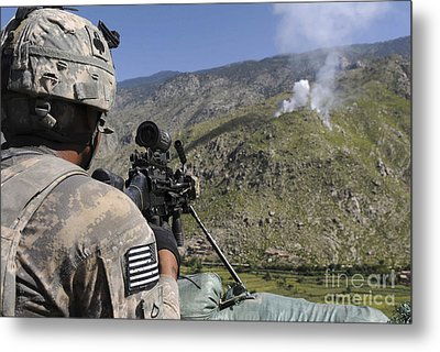 A U.s. Army Grenadier Scans A Nearby Metal Print
