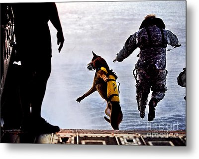 A U.s. Soldier And His Military Working Metal Print