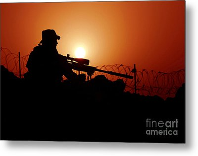 A U.s. Special Forces Soldier Armed Metal Print by Stocktrek Images