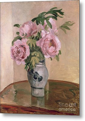 A Vase Of Peonies Metal Print by Camille Pissarro