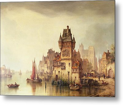 A View On The River Dordrecht Metal Print by Ludwig Hermann