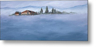 A Villa In The Mist Metal Print by Mary Giacomini