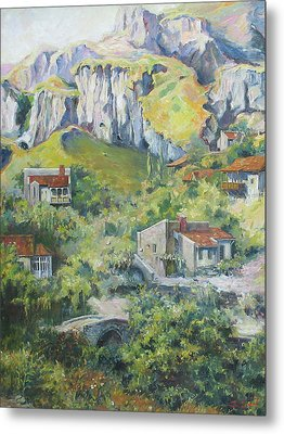 Metal Print featuring the painting A Village Nestled In The Foothills by Tigran Ghulyan