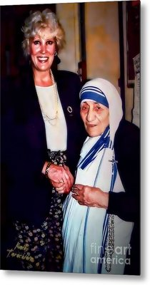 A Vist With Mother Teresa Metal Print by Kathy Tarochione