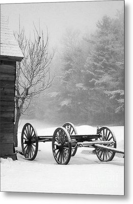 A Wagon In Winter Metal Print